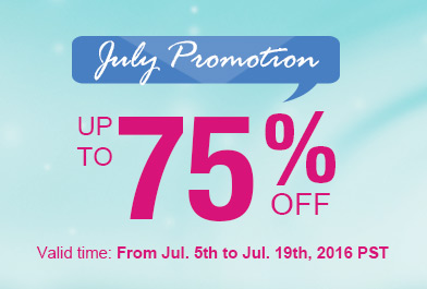 July Promotion -- Save Up to 75%