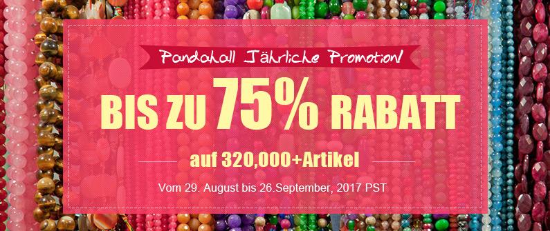 Pandahall Jährliche Promotion! Bis zu 75% Rabatt auf 320,000+Artikel