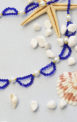 Blue Crystal Beads Choker Necklace