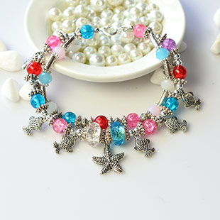 Fish Pendant Bracelet with European Beads