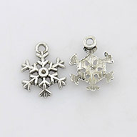 Tibetan Style Charms, Lead Free and Cadmium Free, Antique Silver, Snowflake, Christmas, 13mm in diameter, 3mm thick, hole: 2mm