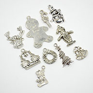 Antique Silver Christmas Alloy Pendant Sets, Santa Claus, Milu Deer, Snowman, Wreath, Crutch, Gingerbread, Christmas Tree, Bell and Socks Charms, Lead Free, 17~40x9.5~26x1~5mm, Hole: 1~2mm; 10pcs/set