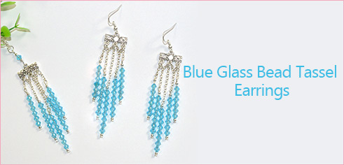 Blue Glass Bead Tassel Earrings
