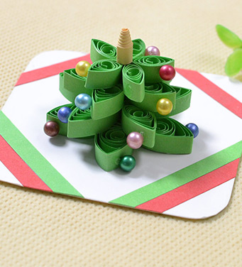 3D Christmas Tree Quilling Paper Greeting Card with Beads