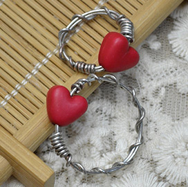 Wrapped Heart Bead Ring