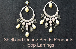 Shell and Quartz Beads Pendants Hoop Earrings