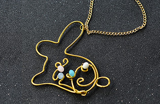 Wire Wrapped Easter Bunny Pendant Necklace