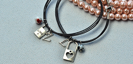 Couple Bracelet with split Heart Charms