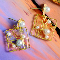 1961 Wire Wrapped Square Earrings