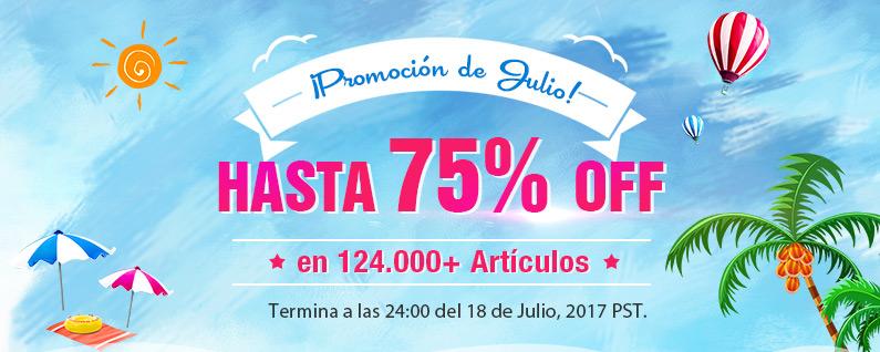 ¡Promoción de Julio! Hasta 75% en 124.000+ Artículos Termina a las 24:00 del 18 de Julio, 2017 PST.