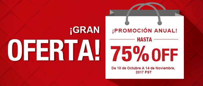 ¡Promoción Anual! ¡Gran Oferta! Hasta 75% OFF