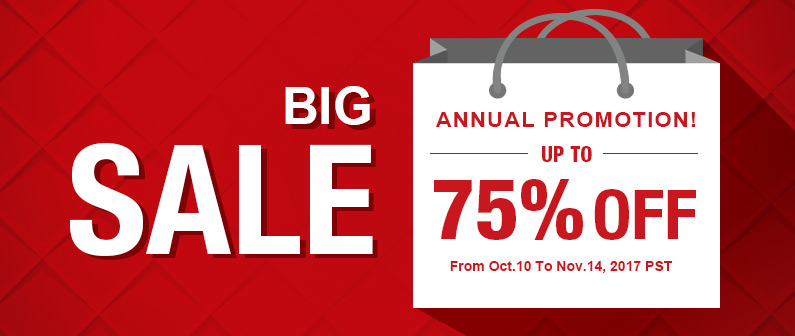 Annual Promotion! BIG SALE! Up to 75% OFF