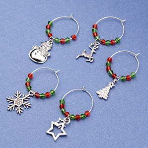 Wine Glass Charm for Christmas, with Glass Beads