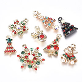 Christmas Alloy Rhinestone Pendants Sets