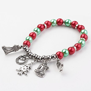 Christmas Glass Beads Stretch Charm Bracelets
